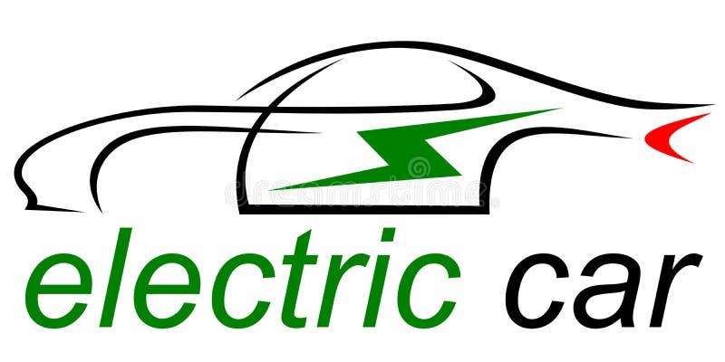 Σκιαγραφία ενός πράσινου ηλεκτρικού αυτοκινήτου coupe απεικόνιση αποθεμάτων