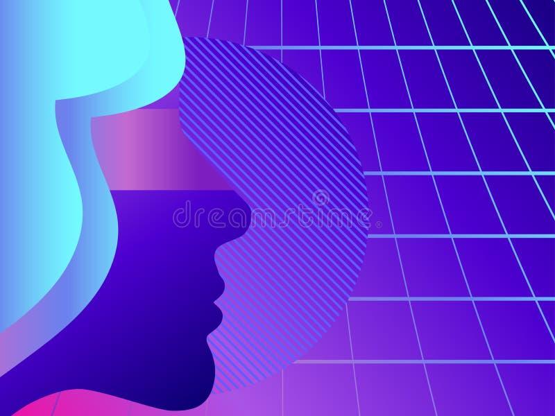 Σκιαγραφία ενός προσώπου γυναικών ` s Η αναδρομική δεκαετία του '80 υποβάθρου με το πλέγμα προοπτικής Φουτουριστική σύγχρονη τάση διανυσματική απεικόνιση