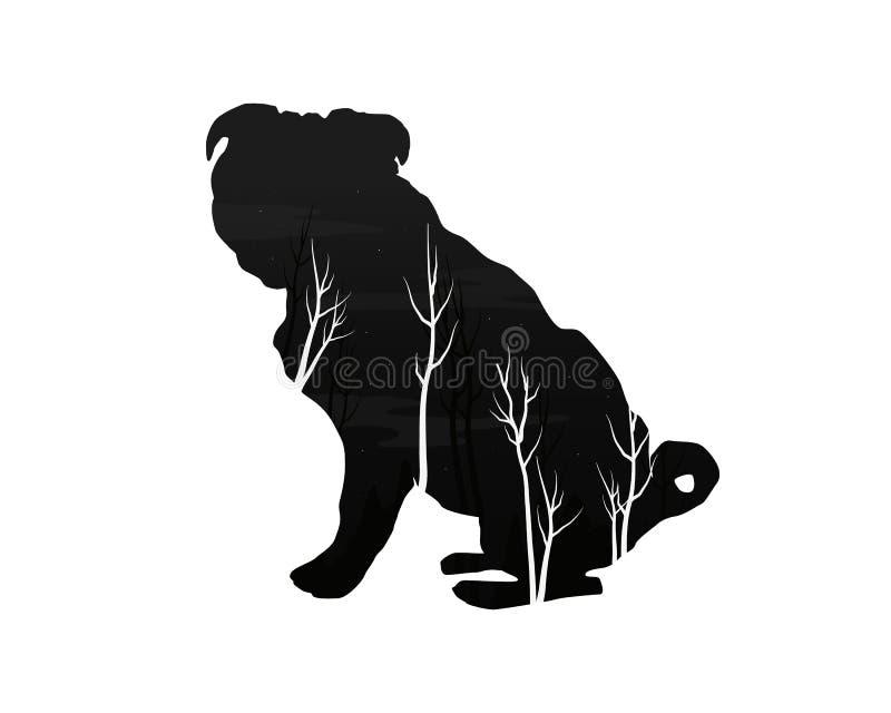 Σκιαγραφία ενός σκυλιού με το δάσος πεύκων διανυσματική απεικόνιση