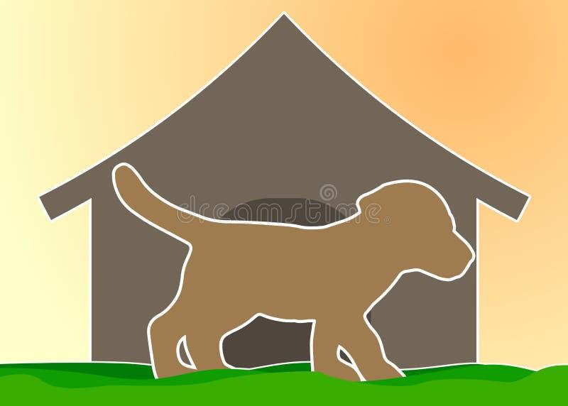 Σκιαγραφία ενός σκυλιού στο υπόβαθρο του σκυλόσπιτου στοκ φωτογραφία με δικαίωμα ελεύθερης χρήσης