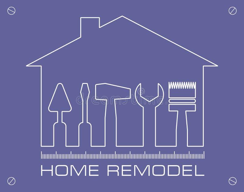 Σκιαγραφία ενός σπιτιού με τα εργαλεία για την επισκευή Το σπίτι λογότυπων αναδιαμορφώνει διανυσματική απεικόνιση