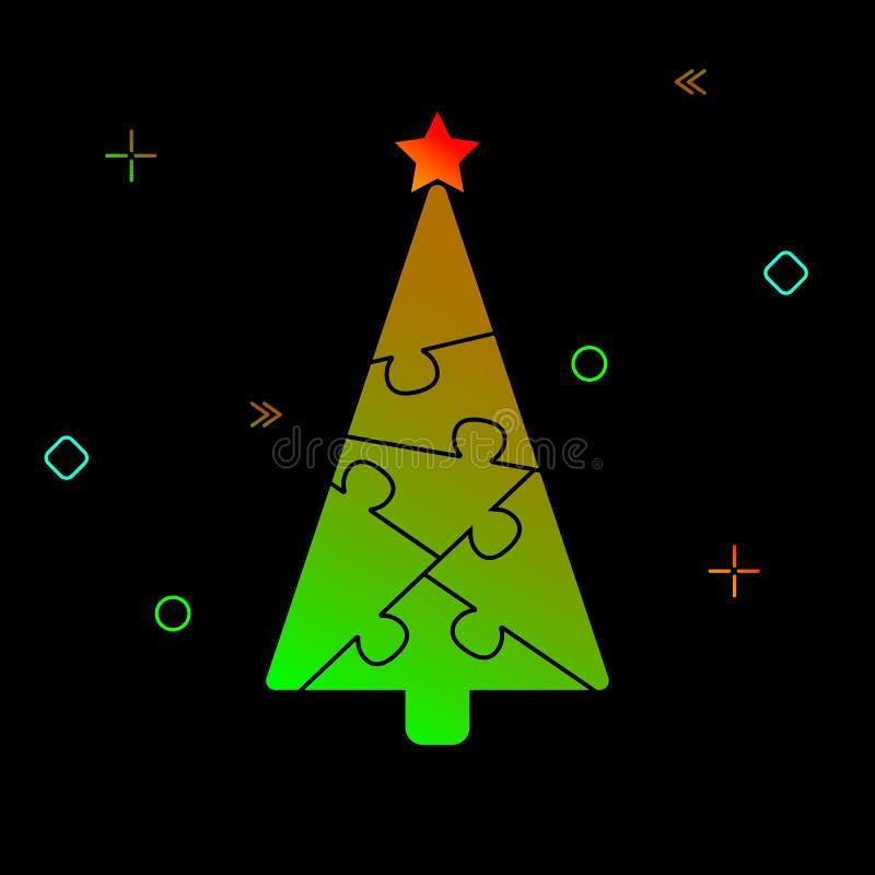 Σκιαγραφία ενός χριστουγεννιάτικου δέντρου φιαγμένου από γρίφους και εορταστικό tinse ελεύθερη απεικόνιση δικαιώματος