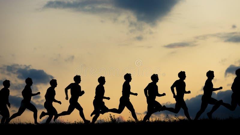 Σκιαγραφία ενός jogger στην ανατολή στοκ εικόνα με δικαίωμα ελεύθερης χρήσης
