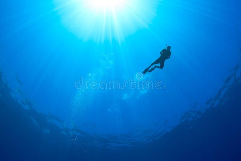 Σκιαγραφία ενός Snorkeller με τις ηλιαχτίδες πίσω στοκ φωτογραφίες