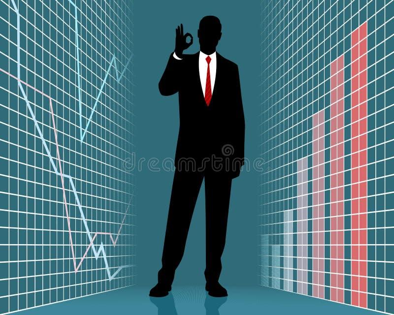 σκιαγραφία επιχειρηματιών επιτυχής διανυσματική απεικόνιση