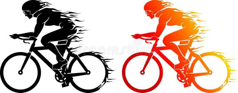Σκιαγραφία ιχνών φλογών ποδηλατών ελεύθερη απεικόνιση δικαιώματος