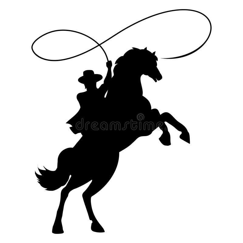 Σκιαγραφία κάουμποϋ με το λάσο στο άλογο διανυσματική απεικόνιση
