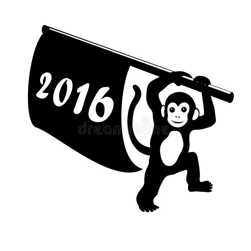 Σκιαγραφία καλής χρονιάς 2016 του πιθήκου με τη σημαία στο άσπρο υπόβαθρο Κινεζικό zodiac συμβόλων έτος του πιθήκου Διανυσματικά  ελεύθερη απεικόνιση δικαιώματος