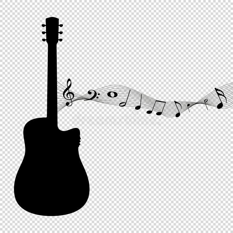 Σκιαγραφία κιθάρων με τις σημειώσεις μουσικής - μαύρη διανυσματική απεικόνιση - που απομονώνεται στο διαφανές υπόβαθρο ελεύθερη απεικόνιση δικαιώματος