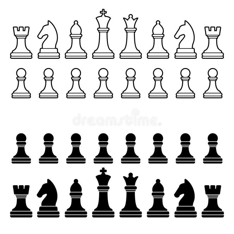 Σκιαγραφία κομματιών σκακιού - γραπτό σύνολο ελεύθερη απεικόνιση δικαιώματος