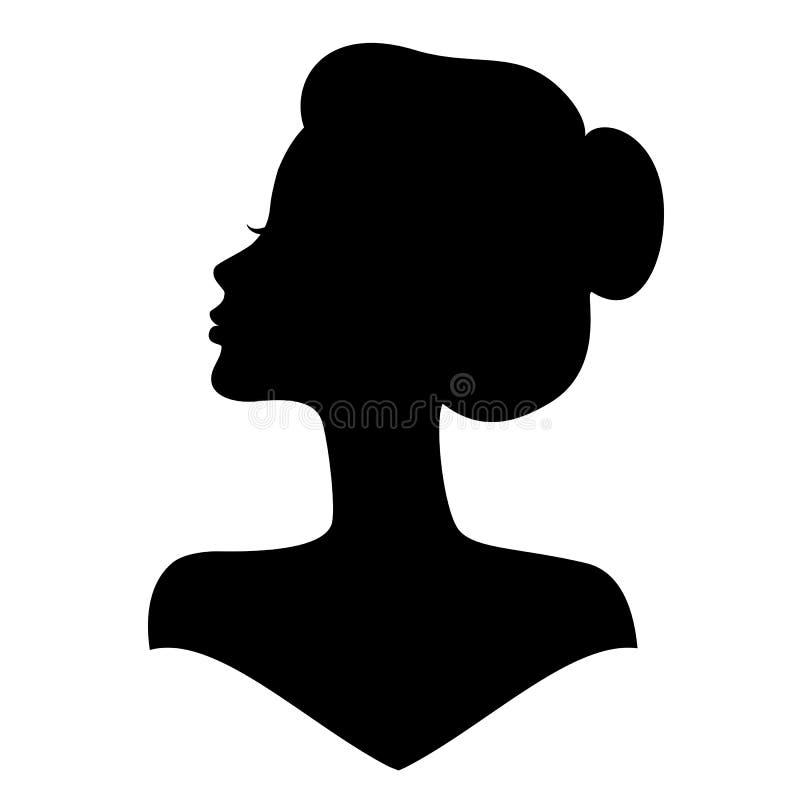 Σκιαγραφία κοριτσιών με την όμορφη τρίχα ελεύθερη απεικόνιση δικαιώματος