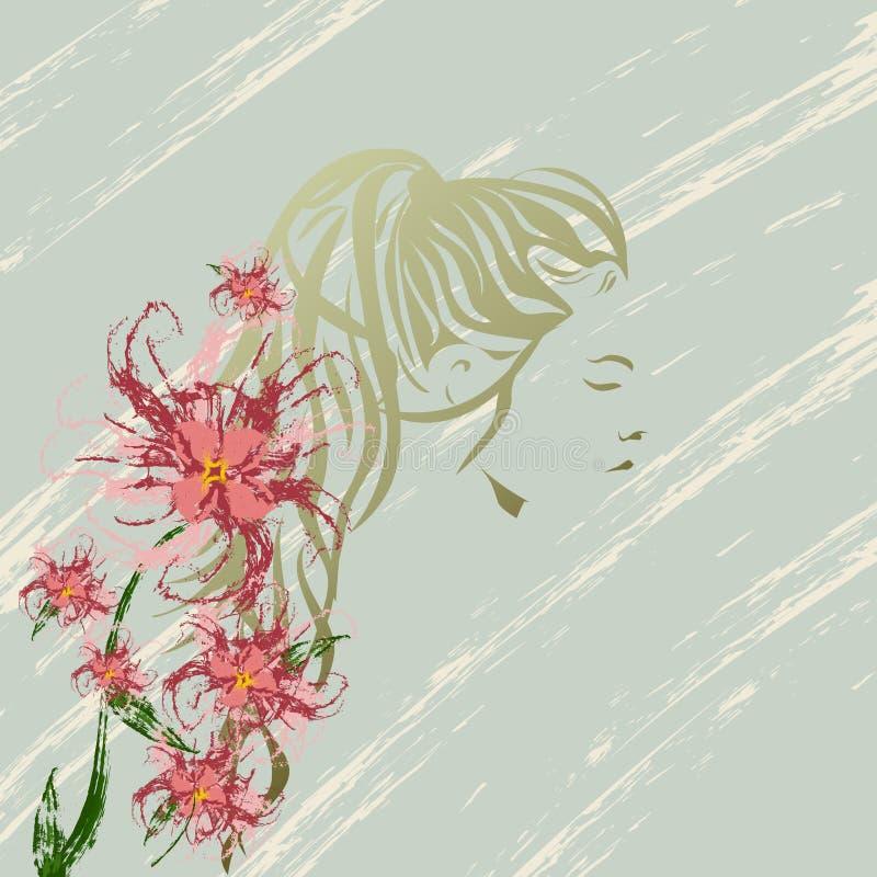 Σκιαγραφία κοριτσιών με τις απεικονίσεις λουλουδιών στο εκλεκτής ποιότητας υπόβαθρο απεικόνιση αποθεμάτων