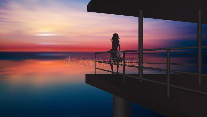 Σκιαγραφία κοριτσιών που απολαμβάνει το ηλιοβασίλεμα από ένα μπαλκόνι επάνω από το νερό διανυσματική απεικόνιση