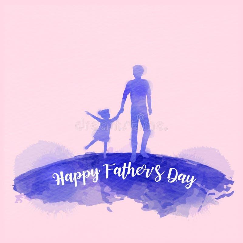 Σκιαγραφία κορών εκμετάλλευσης πατέρων συν το αφηρημένο watercolor που χρωματίζεται Ημέρα του ευτυχούς πατέρα Ψηφιακή ζωγραφική τ διανυσματική απεικόνιση