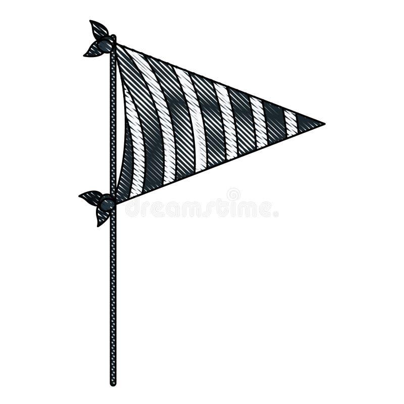 Σκιαγραφία κραγιονιών του σκούρο μπλε κόμματος σημαιών χρώματος διακοσμητικού με τις διαγώνιες γραμμές μέσα για τον εορτασμό διανυσματική απεικόνιση