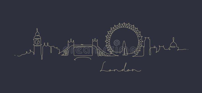 Σκιαγραφία Λονδίνο γραμμών μανδρών σκούρο μπλε ελεύθερη απεικόνιση δικαιώματος