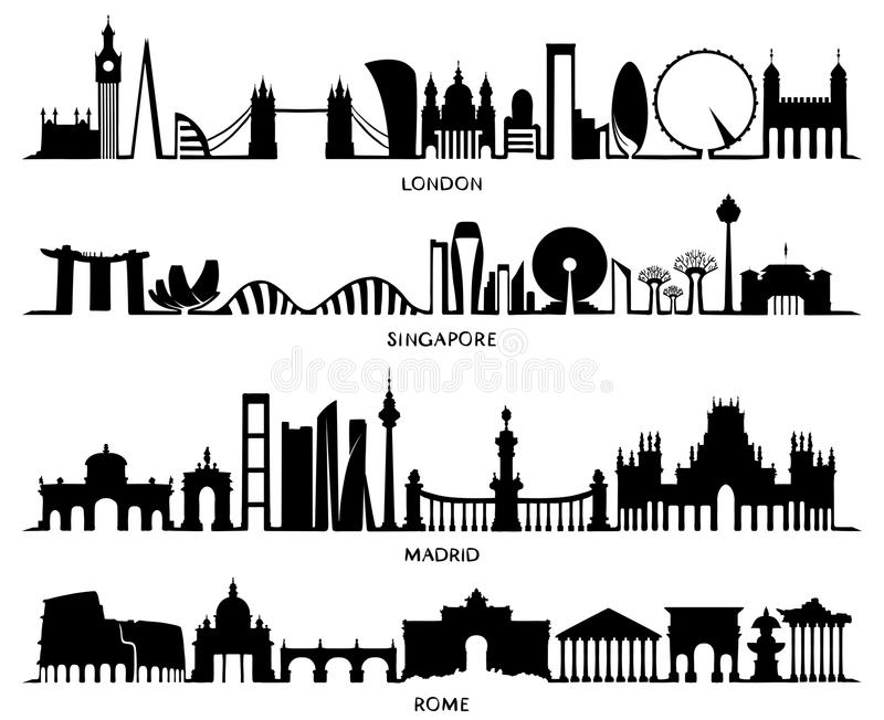 Σκιαγραφία Λονδίνο, Σιγκαπούρη, Μαδρίτη, Ρώμη πόλεων ελεύθερη απεικόνιση δικαιώματος