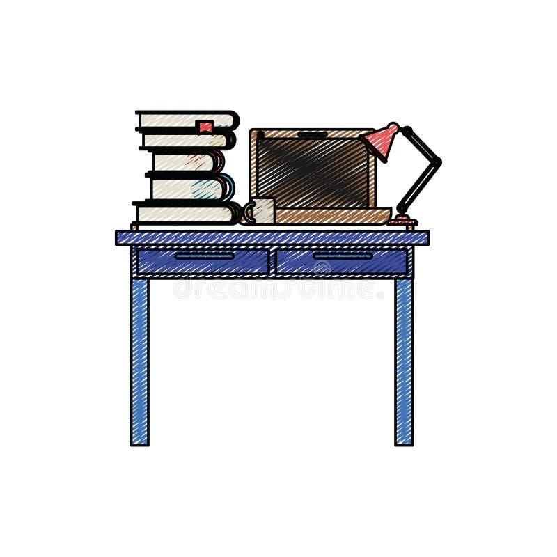 Σκιαγραφία λωρίδων κραγιονιών χρώματος του εσωτερικού γραφείων χώρων εργασίας με τα βιβλία φορητών προσωπικών υπολογιστών και λαμ απεικόνιση αποθεμάτων