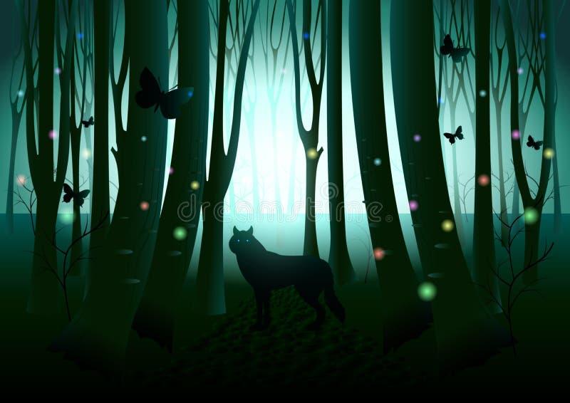 Σκιαγραφία λύκων στο σκοτεινό δάσος φαντασίας ελεύθερη απεικόνιση δικαιώματος
