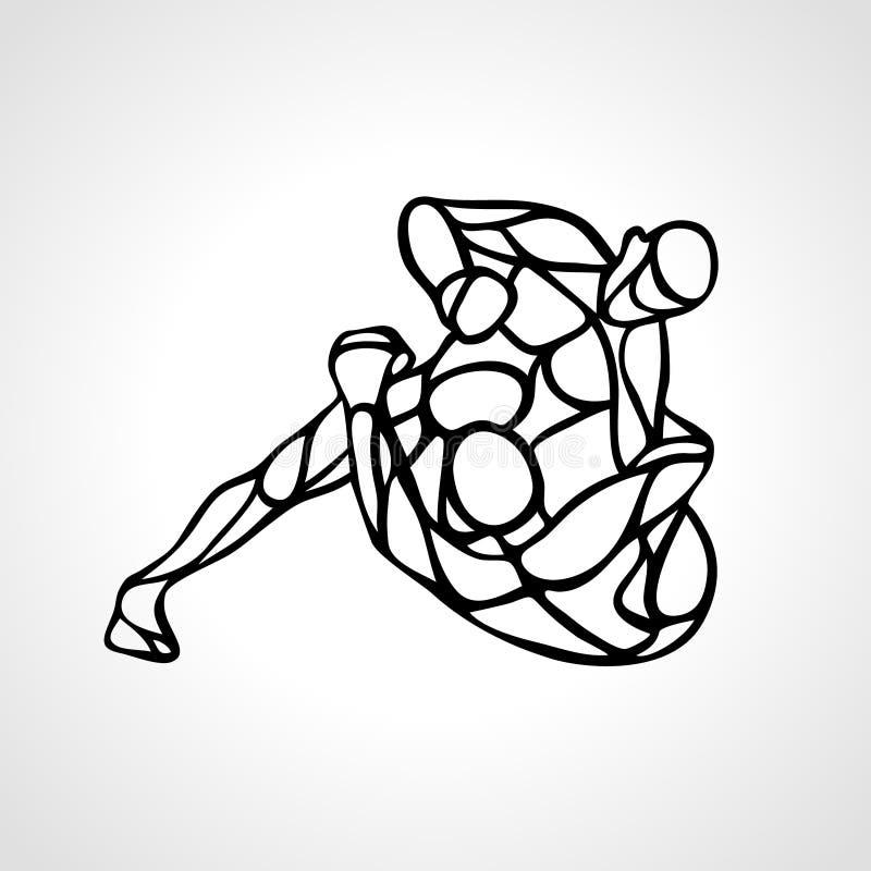 Σκιαγραφία μαχητών MMA Εγκιβωτίζοντας διανυσματικό εικονίδιο διατρήσεων διανυσματική απεικόνιση