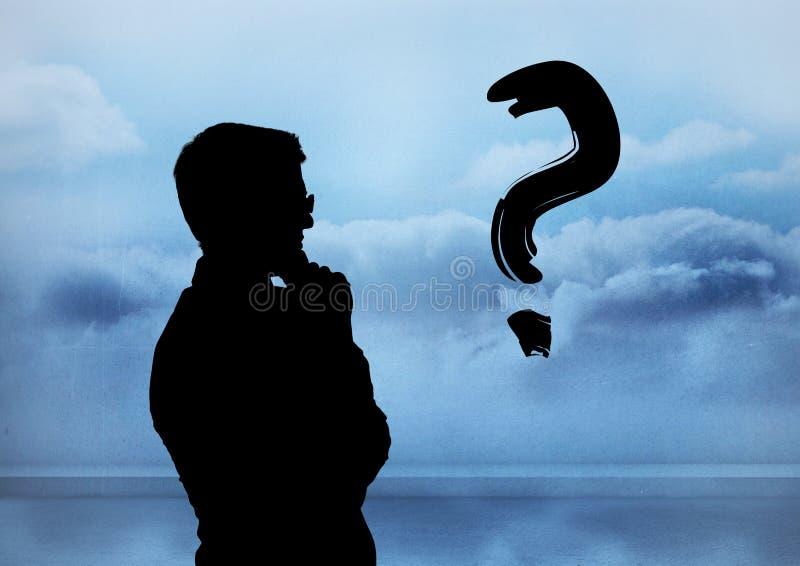 Σκιαγραφία με το ερωτηματικό διανυσματική απεικόνιση