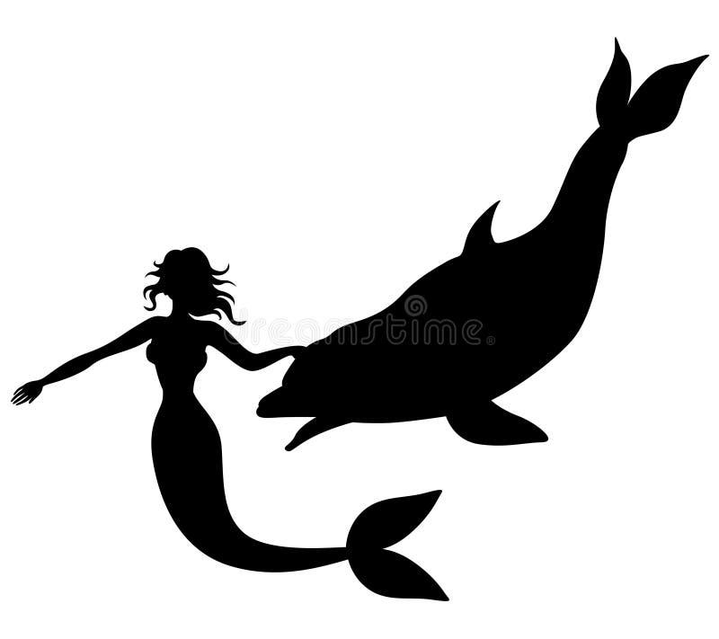 Σκιαγραφία μιας γοργόνας και ενός δελφινιού διανυσματική απεικόνιση