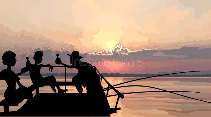 Σκιαγραφία μιας επιχείρησης των ψαράδων που έχουν ένα υπόλοιπο σε μια αποβάθρα στη θάλασσα διανυσματική απεικόνιση