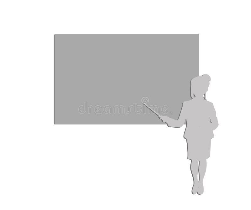 Σκιαγραφία μιας επιχειρησιακής γυναίκας που παρουσιάζει σε έναν πίνακα διάλεξη δευτεροβάθμιος επίσης corel σύρετε το διάνυσμα απε ελεύθερη απεικόνιση δικαιώματος