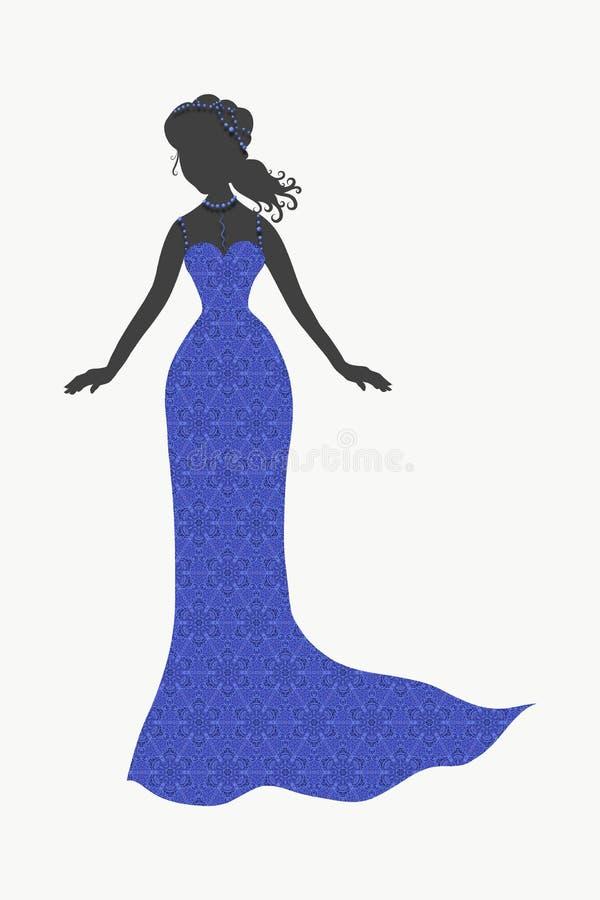 Σκιαγραφία μιας λεπτής κυρίας σε ένα μακρύ μπλε φόρεμα δαντελλών διανυσματική απεικόνιση