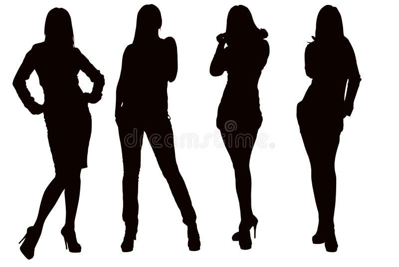 Σκιαγραφία μιας νέας γυναίκας διανυσματική απεικόνιση