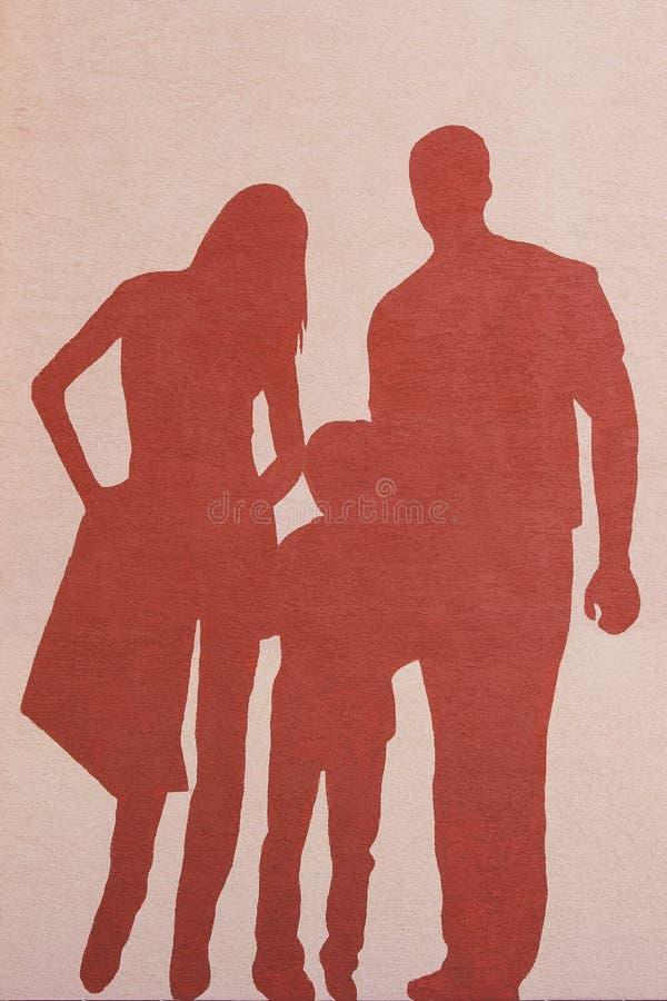 Σκιαγραφία μιας οικογένειας στοκ φωτογραφίες