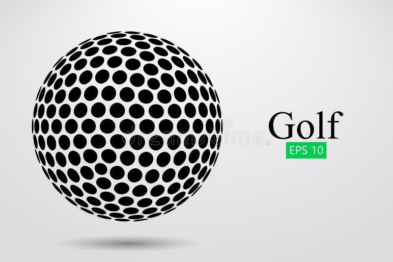 Σκιαγραφία μιας σφαίρας γκολφ επίσης corel σύρετε το διάνυσμα απεικόνισης