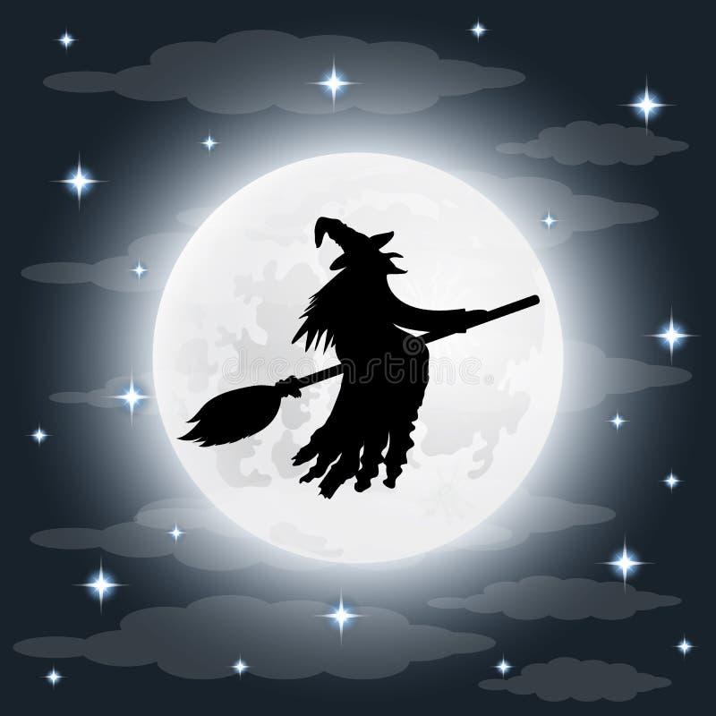 Σκιαγραφία μιας φοβερής παλαιάς μάγισσας σε ένα σκουπόξυλο στη πανσέληνο ελεύθερη απεικόνιση δικαιώματος