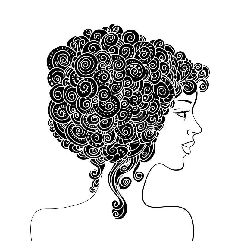 Σκιαγραφία μιας όμορφης γυναίκας με τη σγουρή τρίχα Μονοχρωματική αφηρημένη διακοσμητική απεικόνιση μόδας Διάνυσμα σχεδίων χεριών απεικόνιση αποθεμάτων