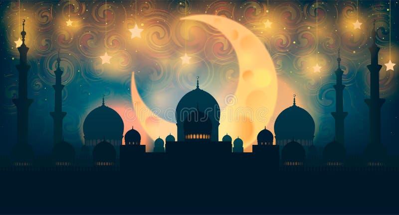 Σκιαγραφία μουσουλμανικών τεμενών στο νυχτερινό ουρανό με το ημισεληνοειδή φεγγάρι και το αστέρι απεικόνιση αποθεμάτων