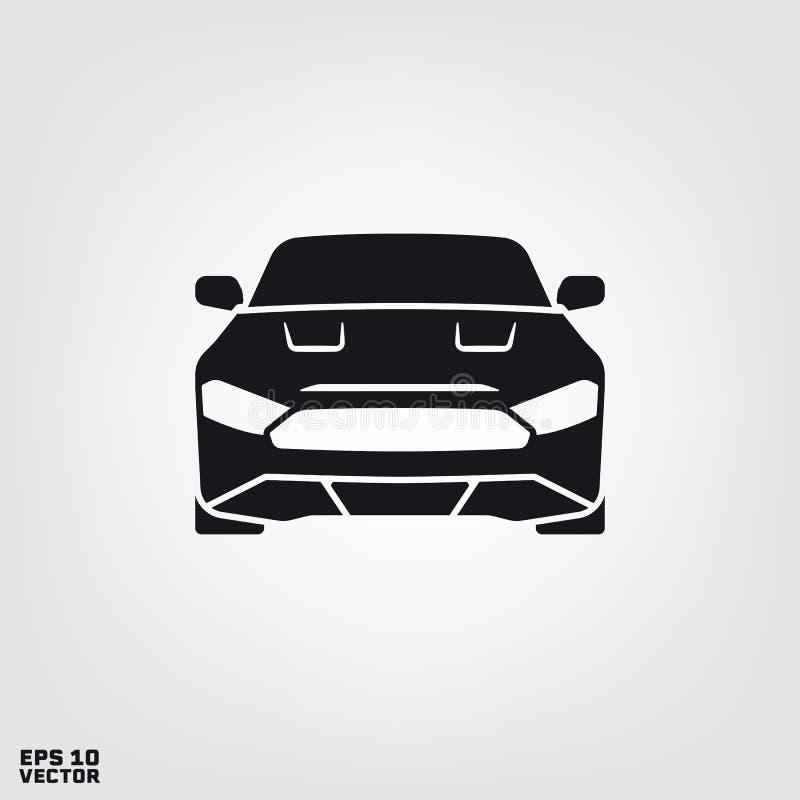 Σκιαγραφία μπροστινής άποψης αυτοκινήτων μυών διανυσματική απεικόνιση