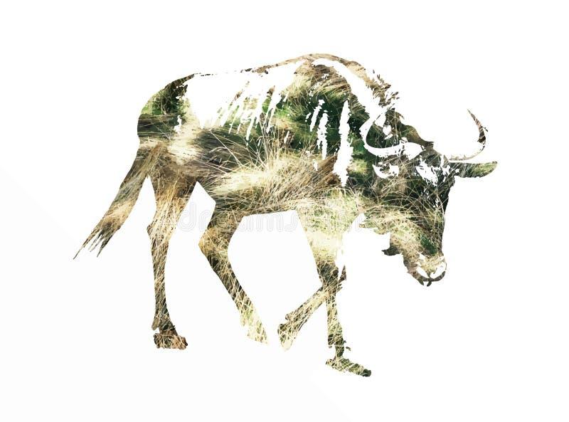 Σκιαγραφία μπλε πιό wildebeest διανυσματική απεικόνιση