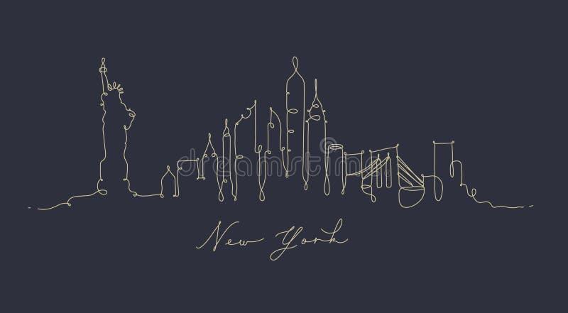 Σκιαγραφία Νέα Υόρκη γραμμών μανδρών σκούρο μπλε διανυσματική απεικόνιση