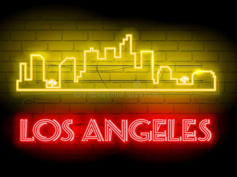 Σκιαγραφία νέου του διανυσματικού υποβάθρου οριζόντων πόλεων του Λος Άντζελες Ηνωμένες Πολιτείες Απεικόνιση σημαδιών ύφους νέου Α διανυσματική απεικόνιση