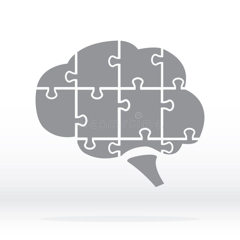 Σκιαγραφία λογότυπων εγκεφάλου στο γκρι Εγκέφαλος υπό μορφή γρίφου απεικόνιση αποθεμάτων