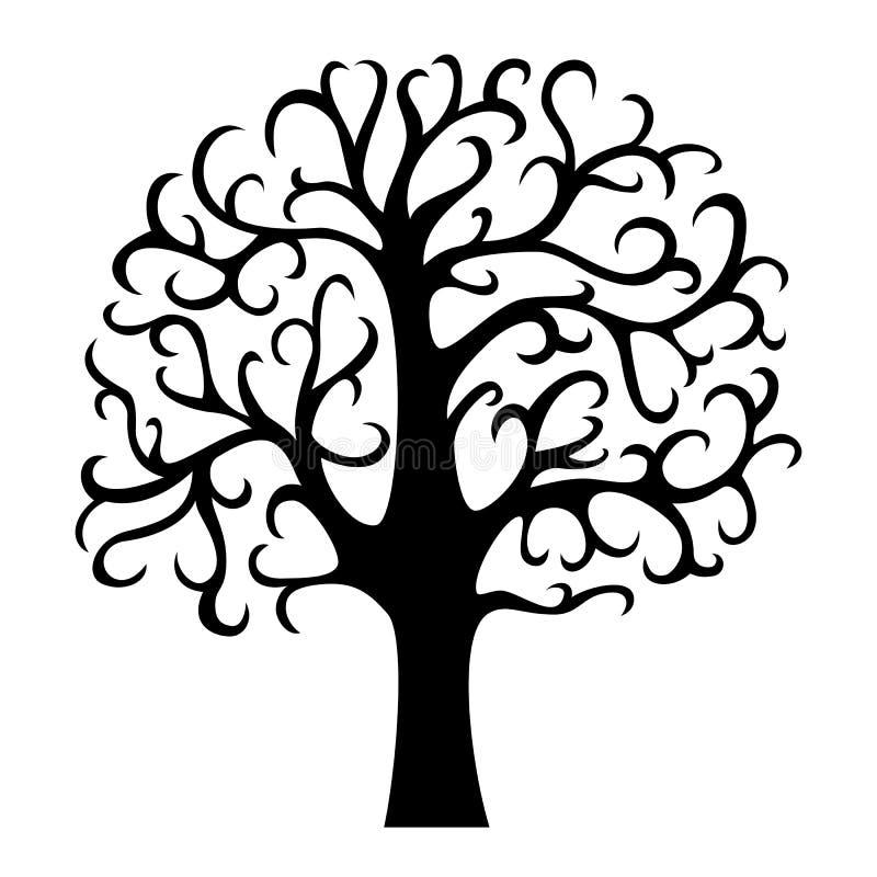 Σκιαγραφία οικογενειακών δέντρων Δέντρο ζωής Απεικόνιση που απομονώνεται διανυσματική ελεύθερη απεικόνιση δικαιώματος