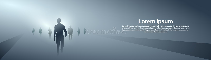 Σκιαγραφία ομάδας επιχειρηματιών που κάνει το πλήρες μήκος βημάτων προς τα εμπρός πέρα από το γκρίζο ελαφρύ υπόβαθρο διανυσματική απεικόνιση