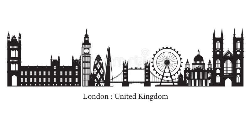 Σκιαγραφία οριζόντων ορόσημων του Λονδίνου, της Αγγλίας και του Ηνωμένου Βασιλείου ελεύθερη απεικόνιση δικαιώματος