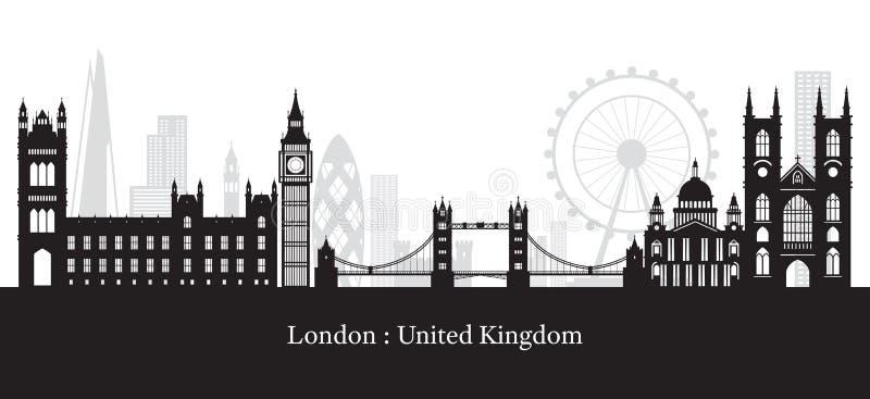 Σκιαγραφία οριζόντων ορόσημων του Λονδίνου, της Αγγλίας και του Ηνωμένου Βασιλείου απεικόνιση αποθεμάτων