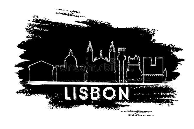 Σκιαγραφία οριζόντων πόλεων της Λισσαβώνας Πορτογαλία Συρμένο χέρι σκίτσο απεικόνιση αποθεμάτων