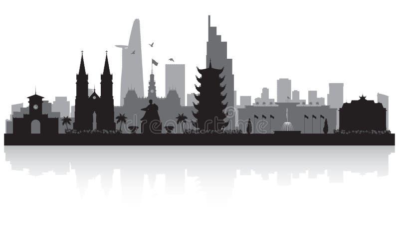 Σκιαγραφία οριζόντων πόλεων του Βιετνάμ πόλεων του Ho Chi Minh διανυσματική απεικόνιση