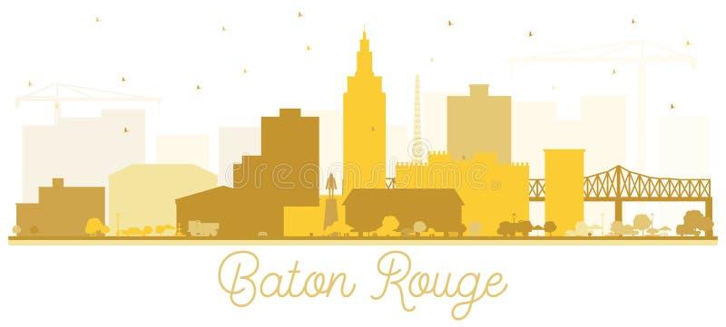 Σκιαγραφία οριζόντων πόλεων του Μπάτον Ρουζ Λουιζιάνα τα χρυσά κτήρια που απομονώνονται με στο λευκό απεικόνιση αποθεμάτων