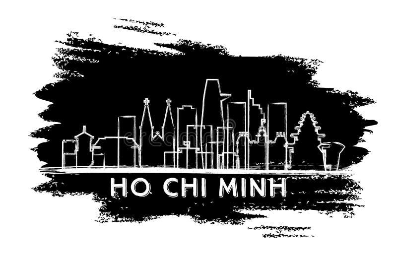 Σκιαγραφία οριζόντων πόλεων του Ho Chi Minh Βιετνάμ Συρμένο χέρι σκίτσο ελεύθερη απεικόνιση δικαιώματος
