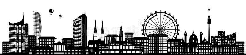 Σκιαγραφία οριζόντων της Βιέννης Αυστρία που απομονώνεται διανυσματική απεικόνιση