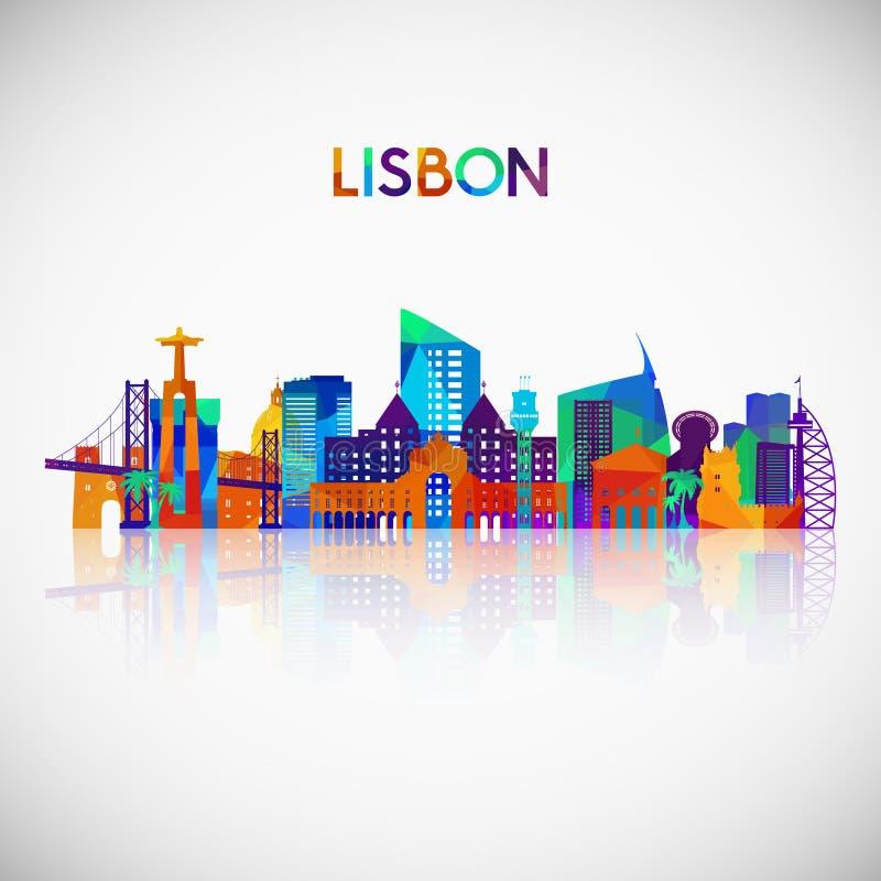 Σκιαγραφία οριζόντων της Λισσαβώνας στο ζωηρόχρωμο γεωμετρικό ύφος ελεύθερη απεικόνιση δικαιώματος